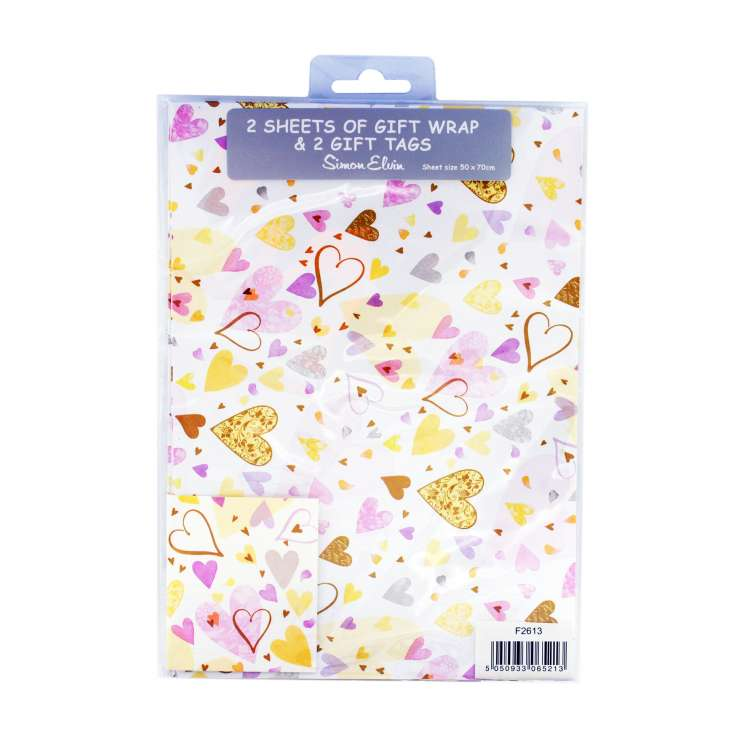 Gift Wrap 2 Pack + 2 Tags - Love Hearts (50cm x 70cm)