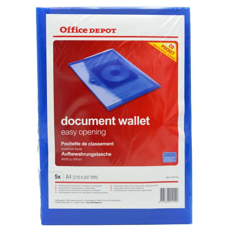A4 Document Wallets 5 Pack - CD Pocket