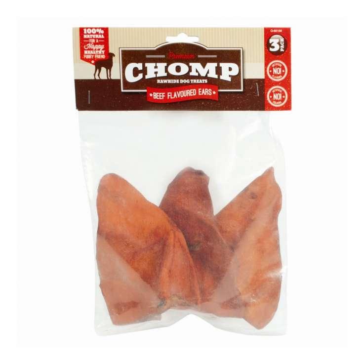 Premium chomp rawhide beef flavoured ears 3pk
