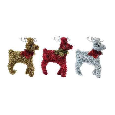 Tinsel Reindeer Decoration - 3 Assorted Colours