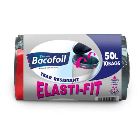 Bacofoil Elasti-Fit Bin Liners 50 Litre - Roll of 10
