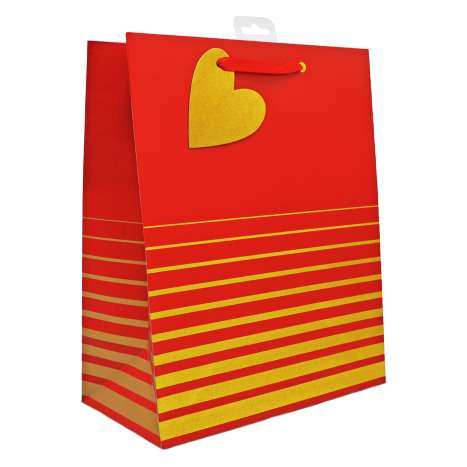 Large Gift Bags - Red and Gold Stripe (26.5cm x 33cm)