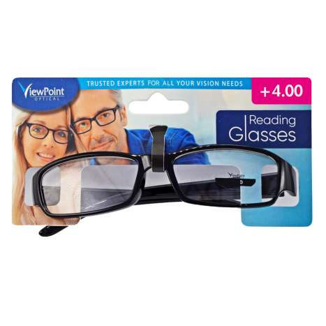 ViewPoint Optical Unisex Black Reading Glasses +4.00