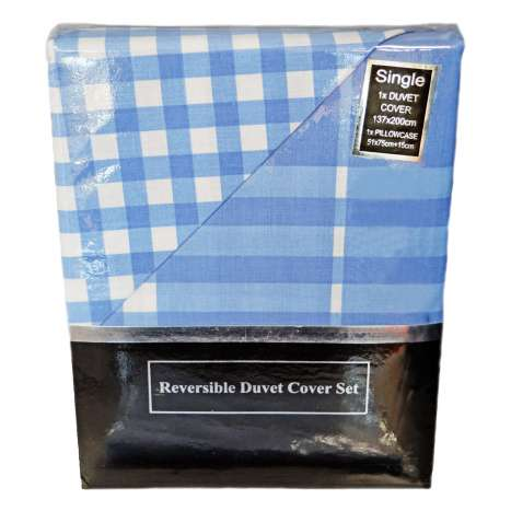 Single Reversible Duvet Cover Set - Blue (Duvet + Pillow Case)