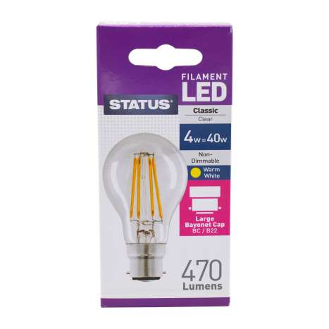 Status Filament LED 4w=40w Classic Bayonet Cap Light Bulb