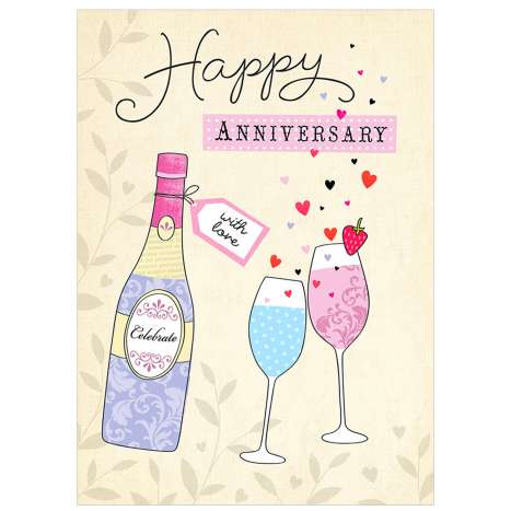 Garlanna Greeting Cards Code 50 - Happy Anniversary (Glasses)