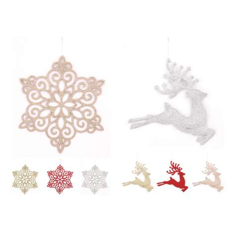 Large glitter & snowflake decoration - assorted designs