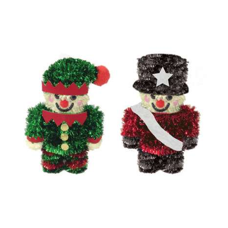 Tinsel Elf & Nutcracker Decoration
