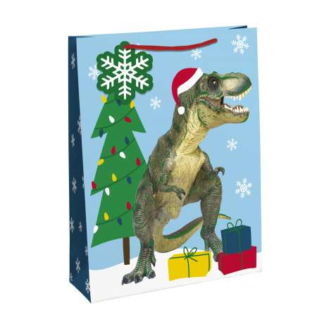Dinosaur Christmas Gift Bag - Medium