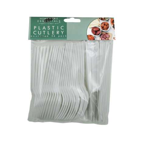 Homeware Essentials Plastic Cutlery Assorted 36 Pack