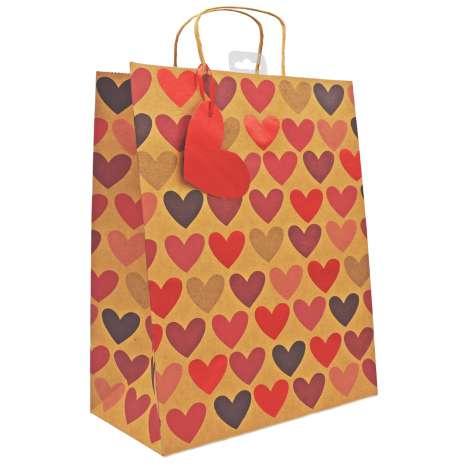 Large Gift Bags - Kraft Hearts (26.5cm x 33cm)