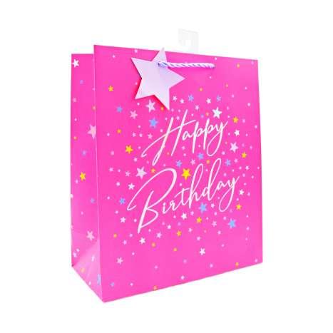 Medium Gift Bags - Pink Happy Birthday (21.5cm x 25.5cm)
