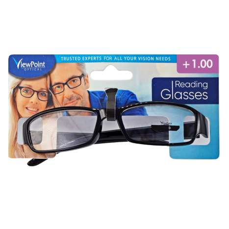 ViewPoint Optical Unisex Black Reading Glasses +1.00