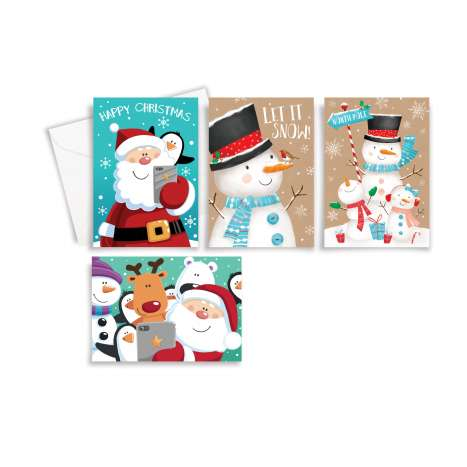 Cute cards 10PK - Santa/snowman/group