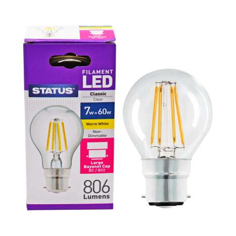 Status Filament LED 7w=60w Classic Bayonet Cap Light Bulb