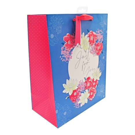 Large Gift Bags - Just For You Flowers (26.5cm x 33cm)