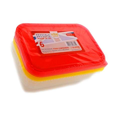 E-Lite Gold Microwave Food Containers 500ml 6 Pack