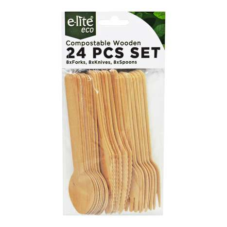 E-lite Eco Compostable Wooden Cutlery Set 24 Pack
