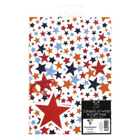 Gift Wrap 2 Pack + 2 Tags - Stars (50cm x 70cm)
