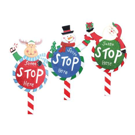 Santa stop here signs - assorted designs