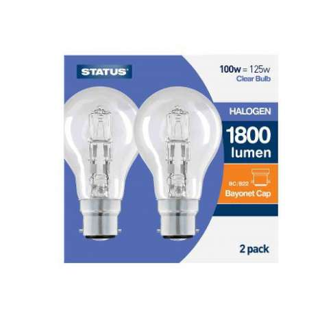 100W = 125W status bayonet cap halogen bulb 2PK clear - IN DISPLAY