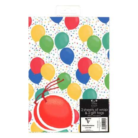 Gift Wrap 2 Pack + 2 Tags - Balloons (50cm x 70cm)
