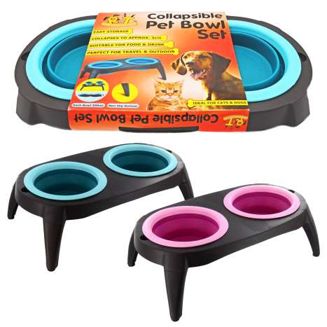 Collapsible Pet Bowl Set - Assorted Colours