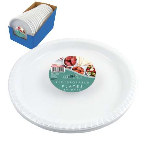 "Homeware Essentials Plastic Disposable Plates 9"" 10 Pack"