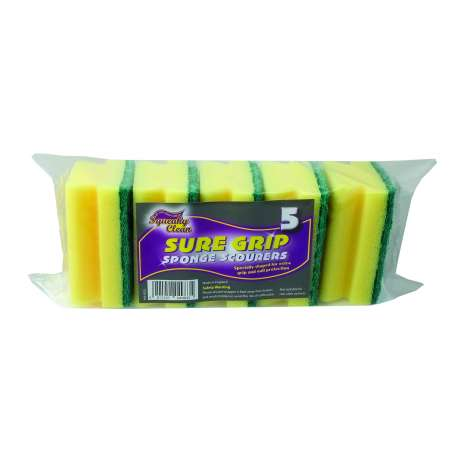 5 Handgrip Sponge Scourers