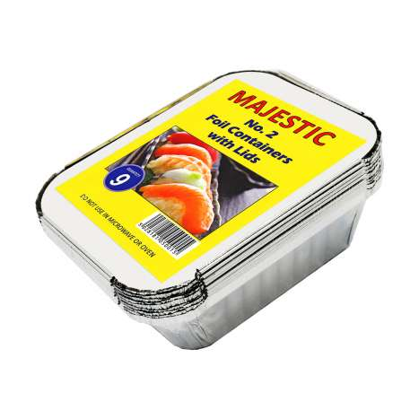 Majestic No.2 Aluminium Foil Containers with Lids 9 Pack