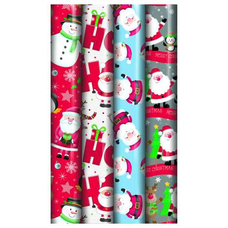 Santa & Snowman Christmas Wrapping Paper 5m