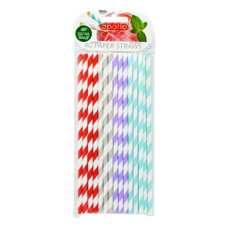 Apollo Paper Straws 40 Pack - Clip Strip Provided