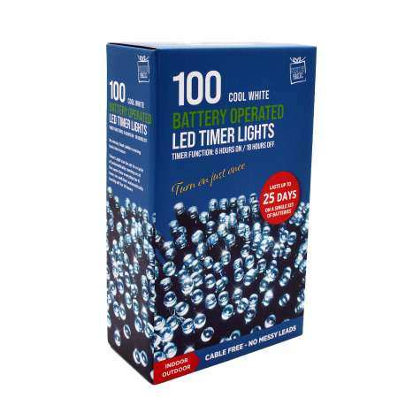 100 Cool White Battery Operated LED Timer Lights