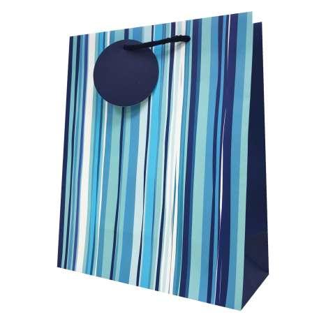 Gift bag blue stripe MEDIUM 21x26cm