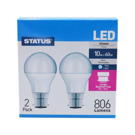Status LED 10w=60w Classic Bayonet Cap Light Bulb - 2 Pack