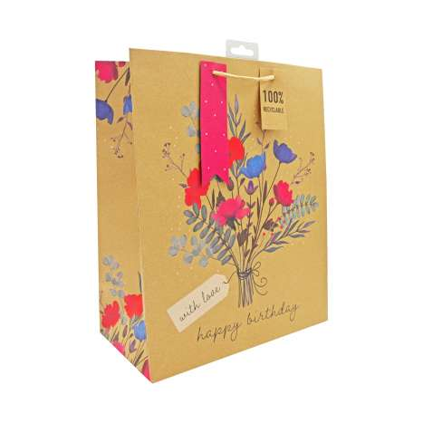 Medium Gift Bags - Kraft Happy Birthday (21.5cm x 25.5cm)