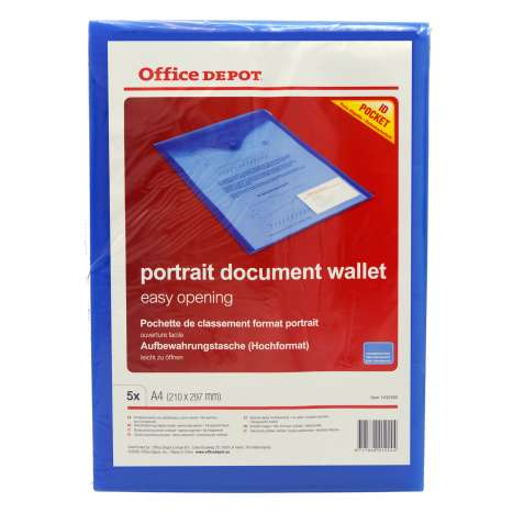 Office depot portrait A4 document wallet 5pk