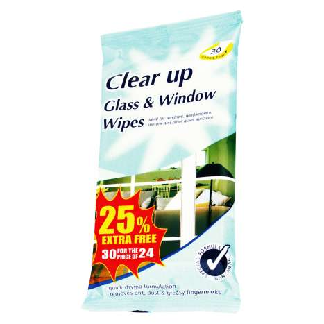 Clear Up Glass & Window Cleaning Wipes 24 Pack +25% Extra Free