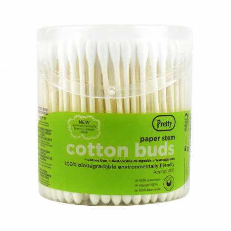 Pretty Biodegradable Cotton Buds 200 Pack - Round Tub
