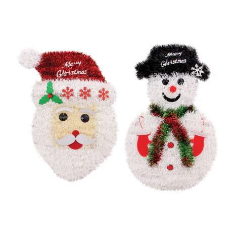 Tinsel Santa head & snowman decoration