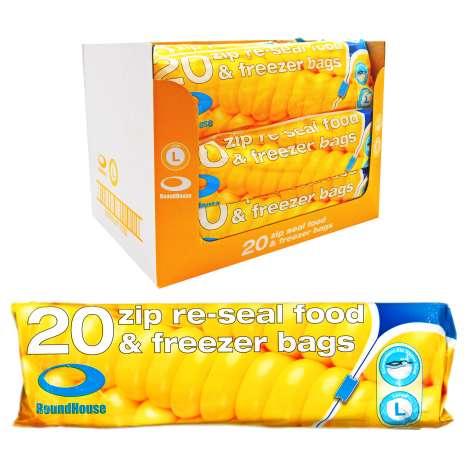 Zip Re-Seal Food & Freezer Bags 20 Pack - Large