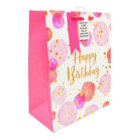 Large Gift Bags - Pink Spots Happy Birthday