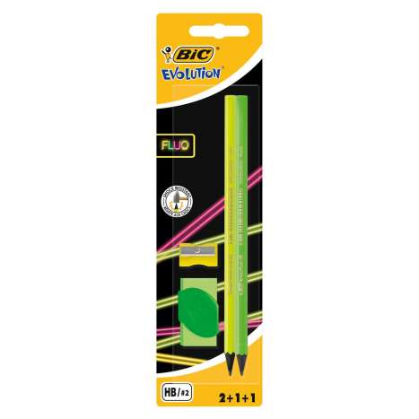 BIC Evolution Graphite Pencils 2 Pack + Eraser & Sharpener