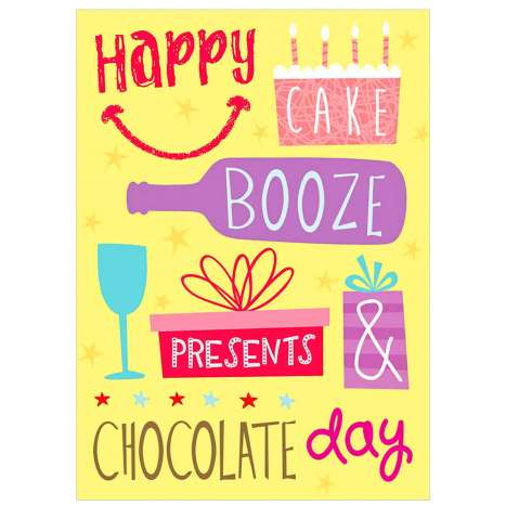 Garlanna Greeting Cards Code 50 - Humour Booze Cake Day