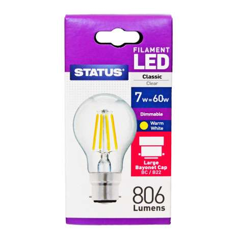 Status Dimmable Filament LED 7w=60w Classic Bayonet Cap Light Bulb
