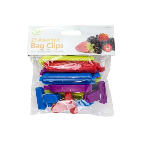 Keep fresh bag clips - 13 assorted - clip strip supplied