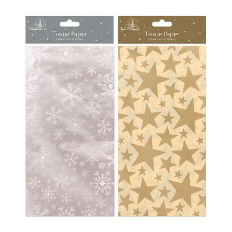 Tissue paper 5 sheets + 10 stickers - gold star & silver snowflake