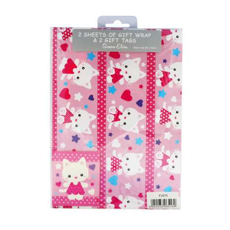 Gift Wrap 2 Pack + 2 Tags - Pink Cat (50cm x 70cm)