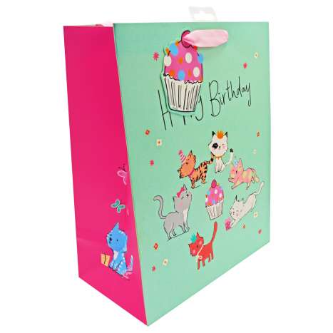 Large Gift Bags - Happy Birthday Kitten Party (26.5cm x 33cm)