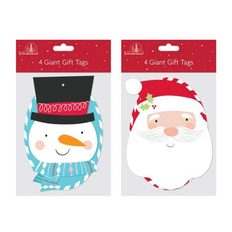 Snowman & Santa Giant Gift Tags 4 Pack